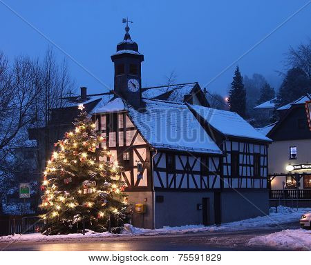 Town Hall And Christmas Tree At Night