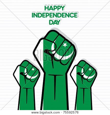 Independence Day of Pakistan, Flag of Pakistan hand design vector