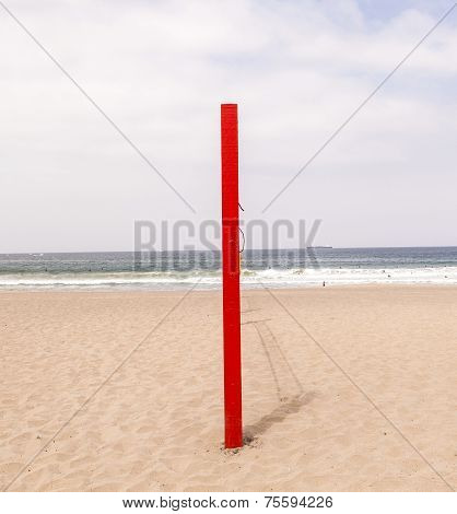 Volleyball Post At The Beach In Blue
