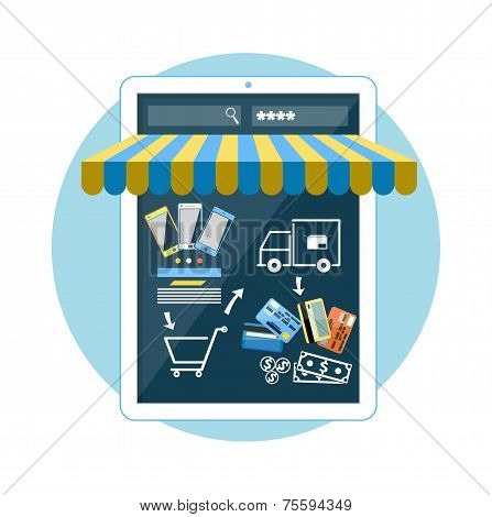 Internet shopping concept smartphone with awning