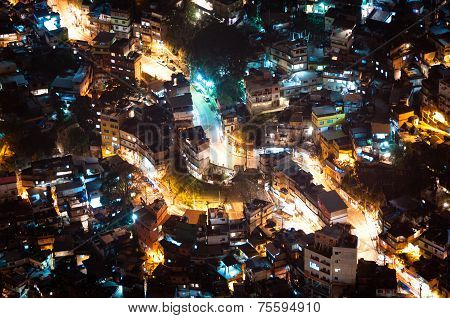 Slum Rocinha in Rio de Janeiro at Night