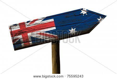 Australia wooden sign isolated on white background