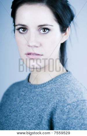 Beautiful Brown Haired Girl In Woolen Jumper