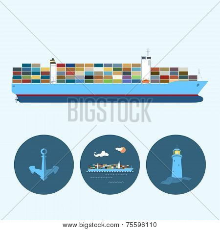 Set With Anchor, Lighthouse And Cargo Container Ship, Vector Illustration
