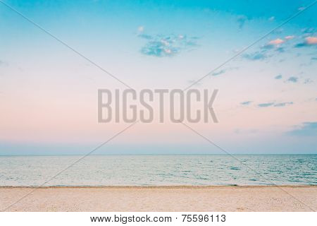 Soft Sea Ocean Waves Wash Over White Sand, Beach Background