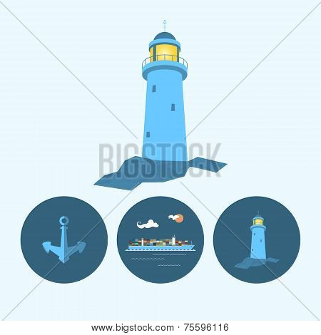 Set Icon With Lighthouse, Anchor And Cargo Container Ship, Vector Illustration