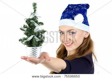 Woman with the small christmas fir tree