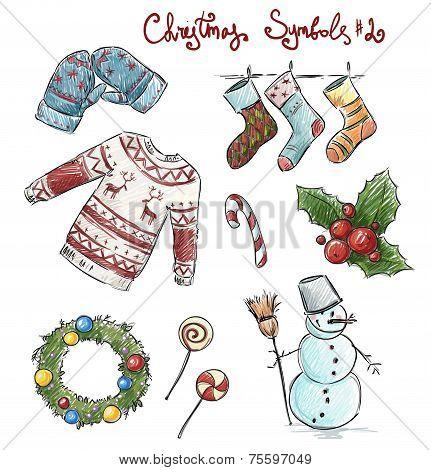 Doodle christmas symbols. Vector illustaration.