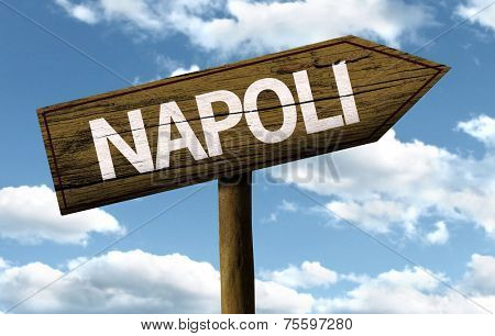 Napoli, Italy wooden sign on a beautiful day