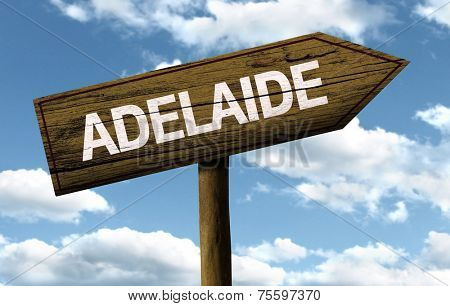 Adelaide, Australia wooden sign on a beautiful day
