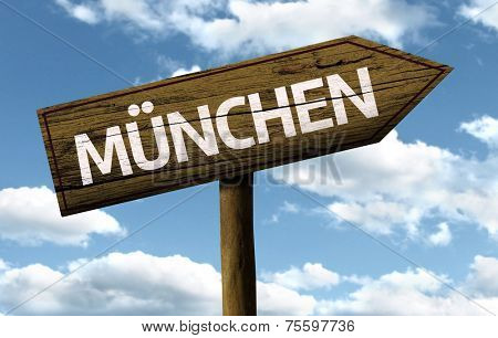 Munchen, Germany wooden sign on a beautiful day