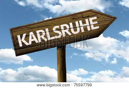 Karlsruhe, Germany wooden sign on a beautiful day