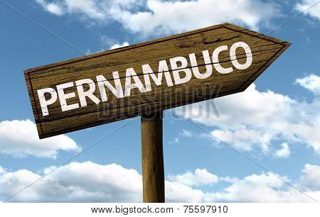 Pernambuco, Brazil wooden sign on a beautiful day