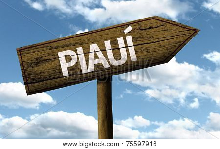 Piaui, Brazil wooden sign on a beautiful day