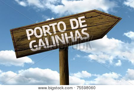 Porto de Galinhas, Brazil wooden sign on a beautiful day