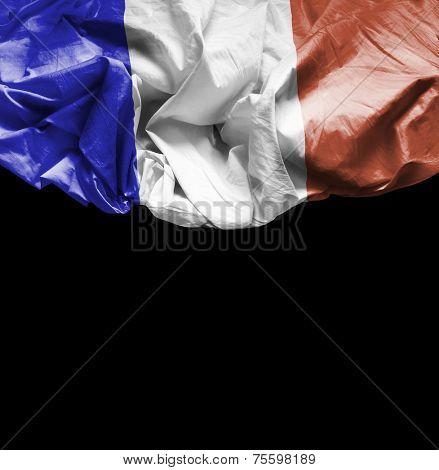 France waving flag on black background