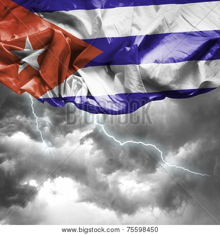 Cuba waving flag on a bad day