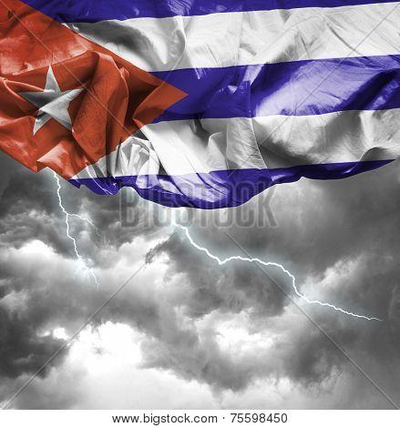 Cuba waving flag on a bad day