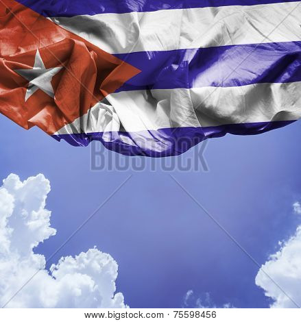 Cuba waving flag on a beautiful day