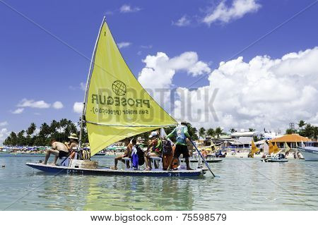 RECIFE, BRAZIL - CIRCA JAN 2014 - Tourists enjoy the Barrier reef tour in Porto de Galinhas, Pernambuco - Brazil