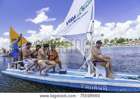 RECIFE, BRAZIL - CIRCA JAN 2014 - Tourists enjoy the Barrier reef tour in Porto de Galinhas, Pernambuco - Brazil