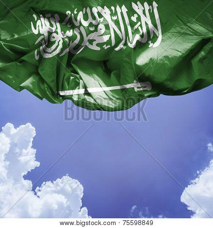 Saudi Arabia waving flag on a beautiful day