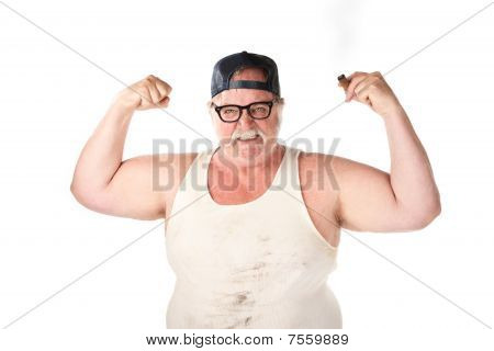 Flexing Large Man
