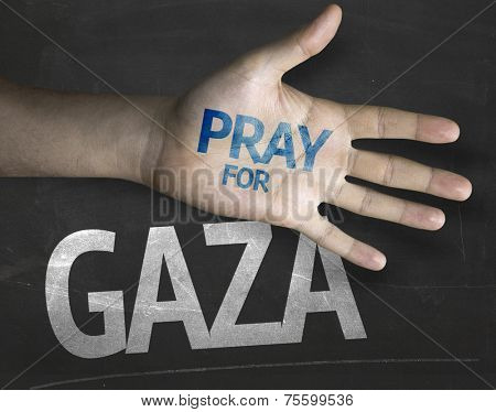 Educational and Creative composition with the message Pray for Gaza on the blackboard