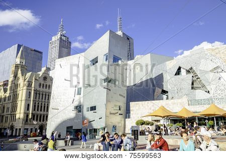 MELBOURNE, AUSTRALIA - CIRCA JAN 2014: People at Federation Square in Melbourne, Australia.