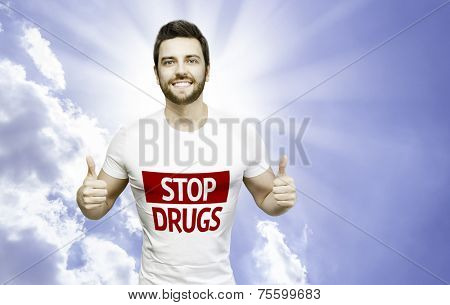 Campaign against Drugs by a man on a beautiful day