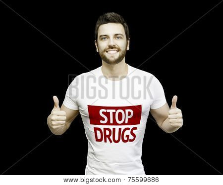Campaign against Drugs by a man on black background