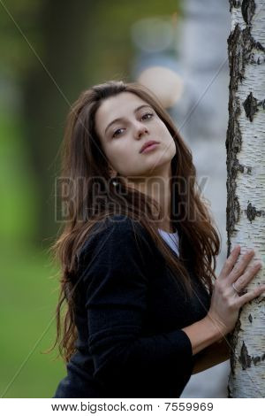 Woman In Birch Forest