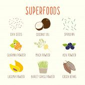 stock photo of bean sprouts  - Set of superfoods part 1 - JPG