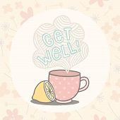 stock photo of get well soon  - Get well greeting card with cute cup - JPG
