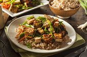 picture of crispy rice  - Homemade Tofu Stir Fry with Vegetables and Rice - JPG
