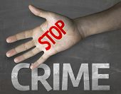image of stop fighting  - Creative composition with the message Stop Crime - JPG