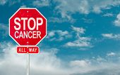 pic of causes cancer  - Stop Cancer creative sign on a sky background - JPG