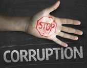 stock photo of corrupt  - Educational and Creative composition with the message Stop Corruption on the blackboard - JPG