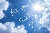 stock photo of query  - Are You Ready written on a beautiful sky - JPG