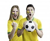 picture of patriot  - Brazilian couple celebrate on white background - JPG
