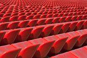 stock photo of bleachers  - Empty soccer sport stadium bleacher seat chair row - JPG