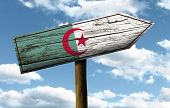foto of algiers  - Algeria wooden sign on a beautiful day - JPG