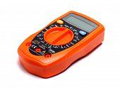 picture of  multimeter  - small orange multimeter on a white background - JPG