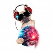 image of jukebox  - dj bulldog dog with headphones listening to music holding a disco ball besides a white banner or placard isolated on white background - JPG