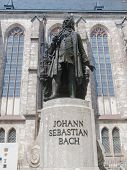pic of thomas  - The Neues Bach Denkmal meaning new Bach monument stands since 1908 in front of the St Thomas Kirche church where Johann Sebastian Bach is buried - JPG