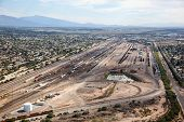 stock photo of freightliner  - Aerial view of train yard in Tucson Arizona - JPG
