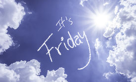 image of friday  - Its Friday written on a beautiful sky - JPG