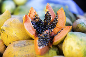 stock photo of groping  - Delicious Papaya from a Local Market in Manaus - JPG