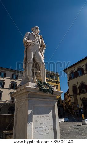 Italian Playwright And Librettist Carlo Osvaldo Goldoni Statue