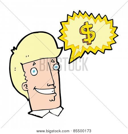 cartoon salesman talking money